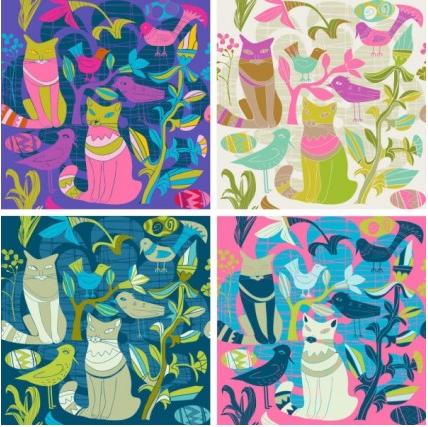 Cartoon style decorative birds and cats 02 Illustration vector
