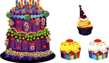 Cartoon style sweet cake vectors material
