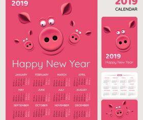 Cartoon styles 2019 calendar template vector