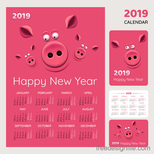Cartoon styles 2019 calendar template vector