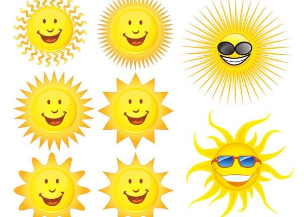 Cartoon sun design vector graphics