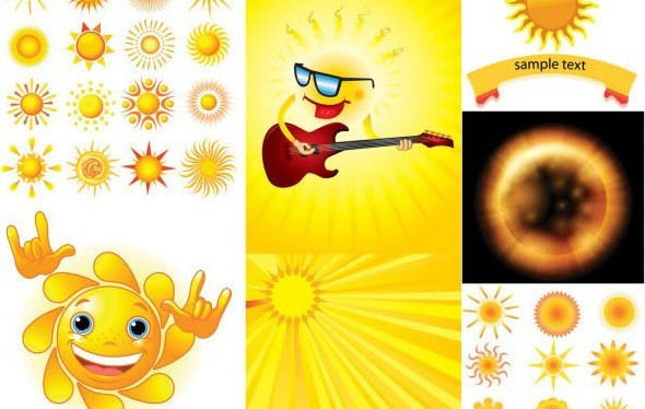 Cartoon sun design vectors