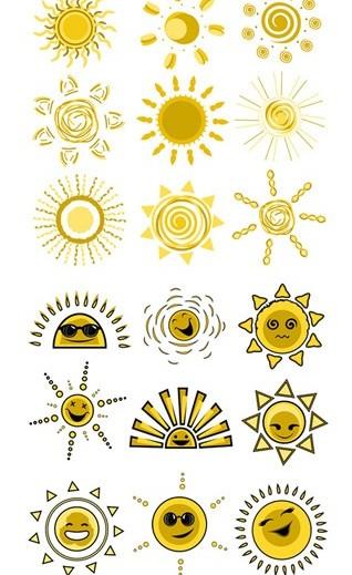 Cartoon sun design ics creative vector