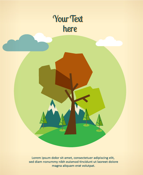 Cartoon tree background 1 vectors