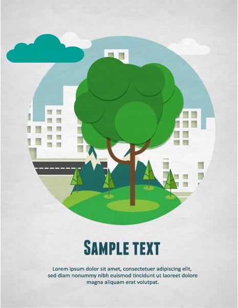 Cartoon tree background 2 vector