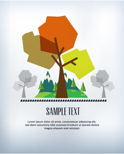 Cartoon tree background 3 Illustration vector