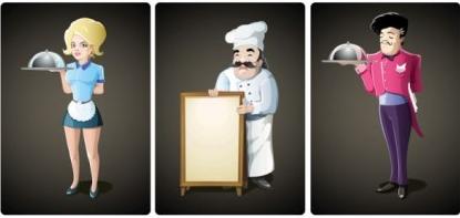 Cartoon waiter vectors graphic
