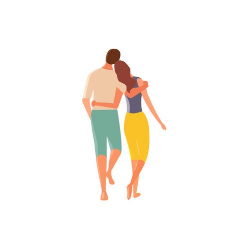 Cartoon walking couple vector