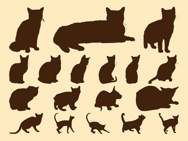Traveling People Silhouettes Vector Art Graphics: Cats Silhouettes Graphics Vector Free Download