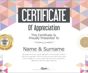 Certificate with diploma geometric template vectors 01