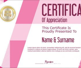 Certificate with diploma geometric template vectors 02