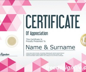 Certificate with diploma geometric template vectors 03