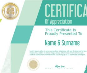 Certificate with diploma geometric template vectors 04