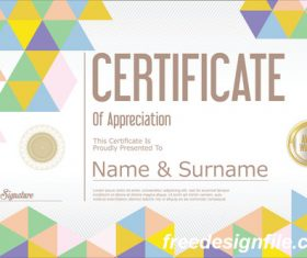 Certificate with diploma geometric template vectors 05