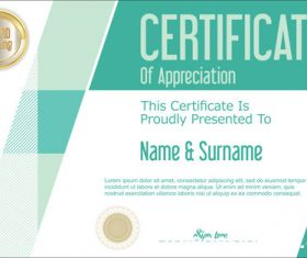 Certificate with diploma geometric template vectors 06