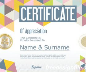 Certificate with diploma geometric template vectors 11