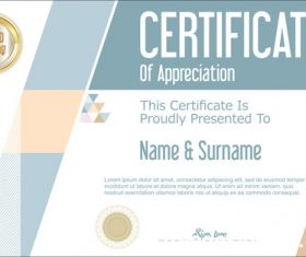 Certificate with diploma geometric template vectors 12
