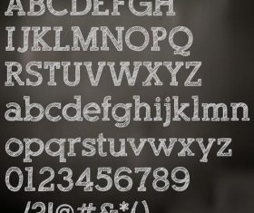 Chalk drawn alphabet font vector 01