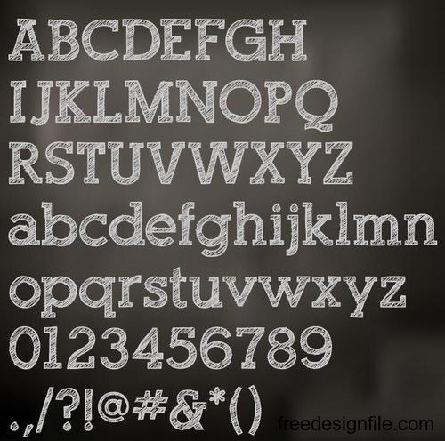 Chalk drawn alphabet font vector 01