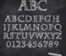 Chalk drawn alphabet font vector 02
