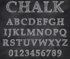 Chalk drawn alphabet font vector 03