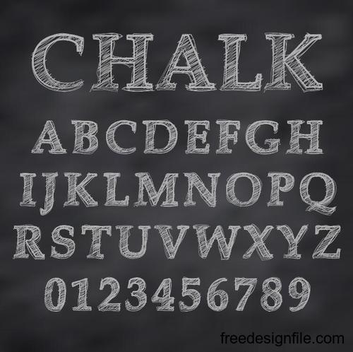 Chalk drawn alphabet font vector 03