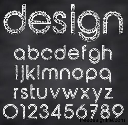Chalk drawn alphabet font vector 04