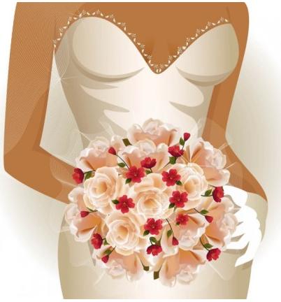 Charm bride wedding 01 vector