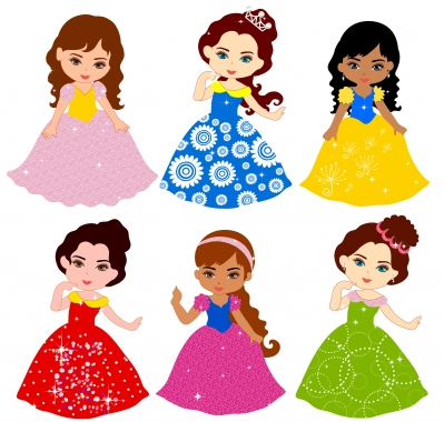 Child girl with colorful dress vector