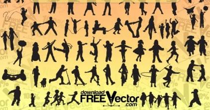 Children Silhouettes vector set