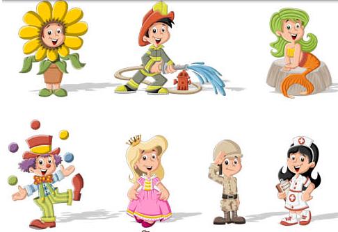 Children in costumes vectors