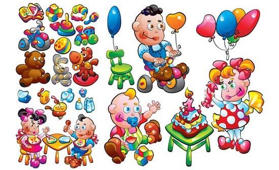 Children toys design elements vector