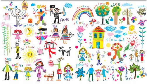 Childrens drawings free vector free download
