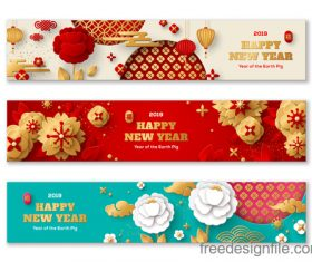Chinese 2019 new year banners design vector