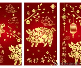 Chinese 2019 new year vertical cards template vector 01