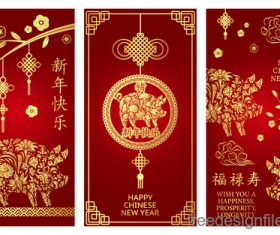 Chinese 2019 new year vertical cards template vector 03
