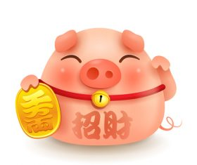Chinese Styles Piggy cartoon vector 01