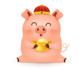 Chinese Styles Piggy cartoon vector 02