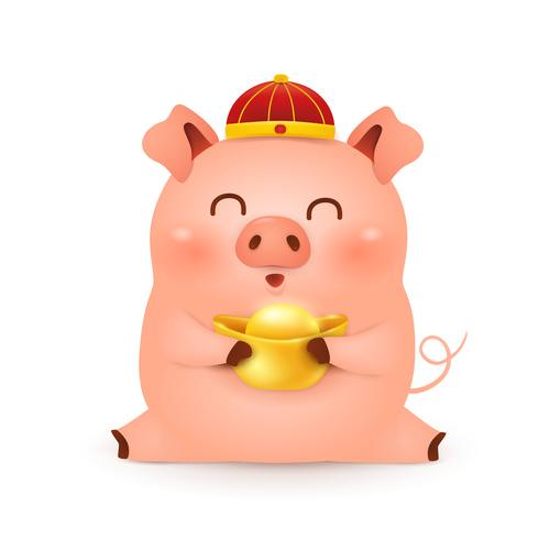 Chinese Styles Piggy cartoon vector 02