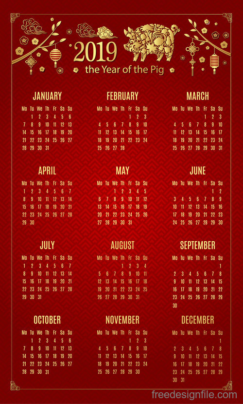 Chinese new year 2019 calendar red template vector 01