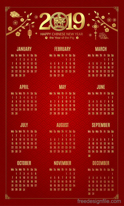 Chinese new year 2019 calendar red template vector 02