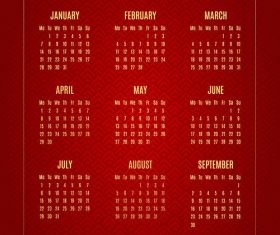 Chinese new year 2019 calendar red template vector 03