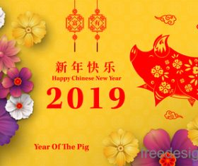 Chinese pig year 2019 festival design vector 07