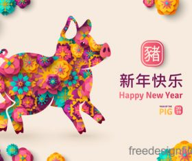 Chinese pig year 2019 festival design vector 09