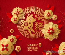 Chinese pig year 2019 festival design vector 10