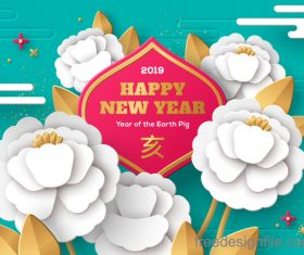 Chinese pig year 2019 festival design vector 11
