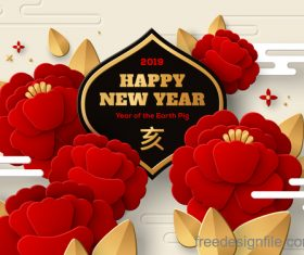 Chinese pig year 2019 festival design vector 12