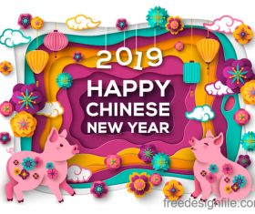 Chinese pig year 2019 festival design vector 13