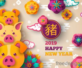 Chinese pig year 2019 festival design vector 14