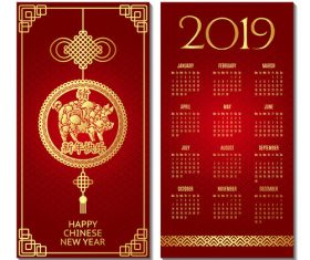 Chinese style 2019 calendar red template vector 02